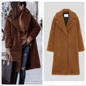 Zara Teddy Bear Camel Coat - Medium
